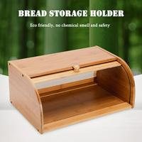 Natural Bamboo Bread Holder Food Storage Container Kitchen Roll Top Bread Storage Box