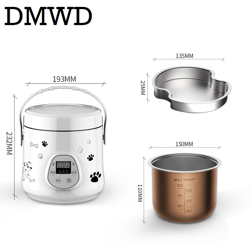DMWD Multifunction Electric mini rice cooker heating lunch box stew soup timing Cooking Machine eggs steamer food lunchbox 1.6L