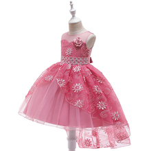 купить 2019 New Children Dress Kids Girls Lace Flowers Fishtail Dresses for Wedding Party Girls Prom Dance Dress for Night Party по цене 2101.98 рублей
