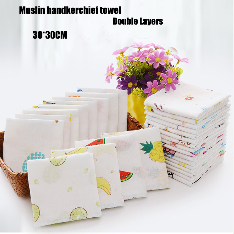 100% Cotton Gauze Poncho Square Towels Newborn Face Wash Towel Hand Bathing Towel Baby Cartoon Bibs 30*30cm Feeding Handkerchief