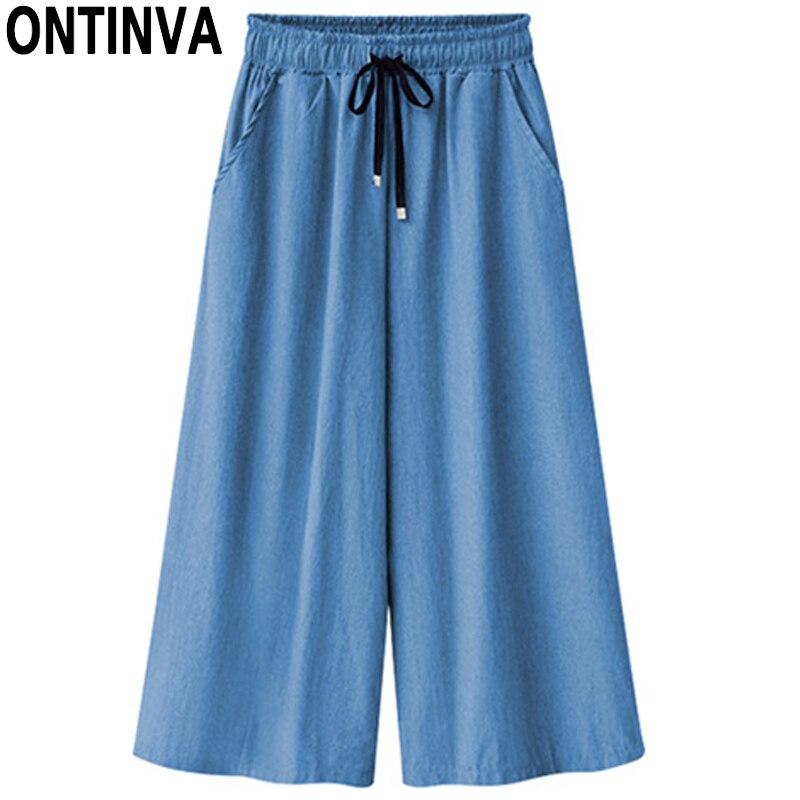 Womens Cotton Blue Denim   Wide     Leg     Pants   Trousers Pantalon Femme Loose Plus Size 4XL 5XL 6XL Skirt   Pant   Summer Thin Culottes
