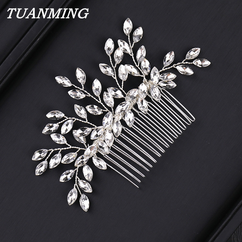 Wedding Rhinestone Hair Comb Bride Head Ornaments Wedding Hair Combs Hair Accessories Bridal Rhinestone Women's Jewelry(China)