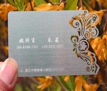 100 Unids/lote Personalizado De Acero Tarjeta de visita Tarjeta de Tarjeta de Invitación de Boda Diy Nombre Personalizado Personalizado