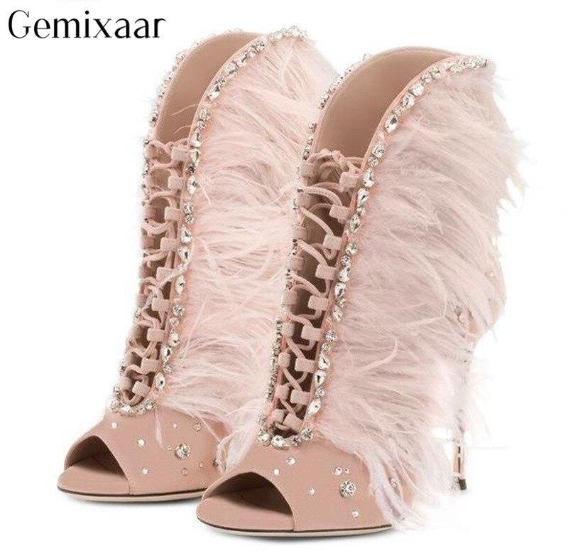 Nouveau mode luxe femme chaussures bout ouvert haut Stiletto Zapatos Mujer Sexy clair bijoux croix-attaché décor plume frange Botas