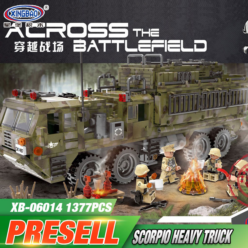 XINGBAO 06014 Genuine 1377PCS Military Series The Scorpion Heavy Truck Set Building Blocks Bricks Toys Children Christmas Gifts 8 in 1 military ship building blocks toys for boys