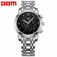 DOM Men Male Luxury Design Business Casual Style Watch Stainless Steel Mechanical Wrist Watches Butterfly Double