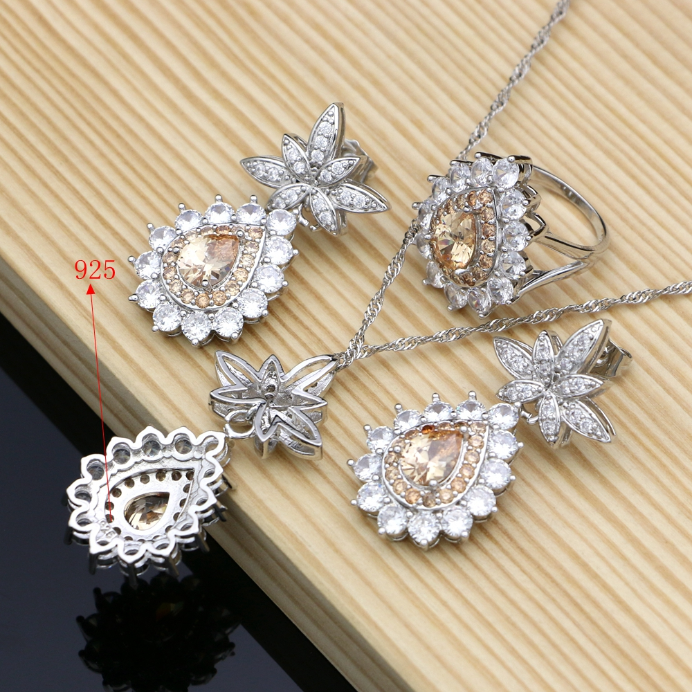 Luxury 925 Sterling Silver Bridal Jewelry Champagne CZ Jewelry Sets For Women Earrings Rings Bracelet Necklace Set Dropshipping in Bridal Jewelry Sets from Jewelry Accessories