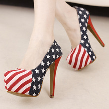 2016 Spring Autumn Women American Flag Pattern Thin Heels Pumps New Fashion Slip-on Female Platform Shoes Z227