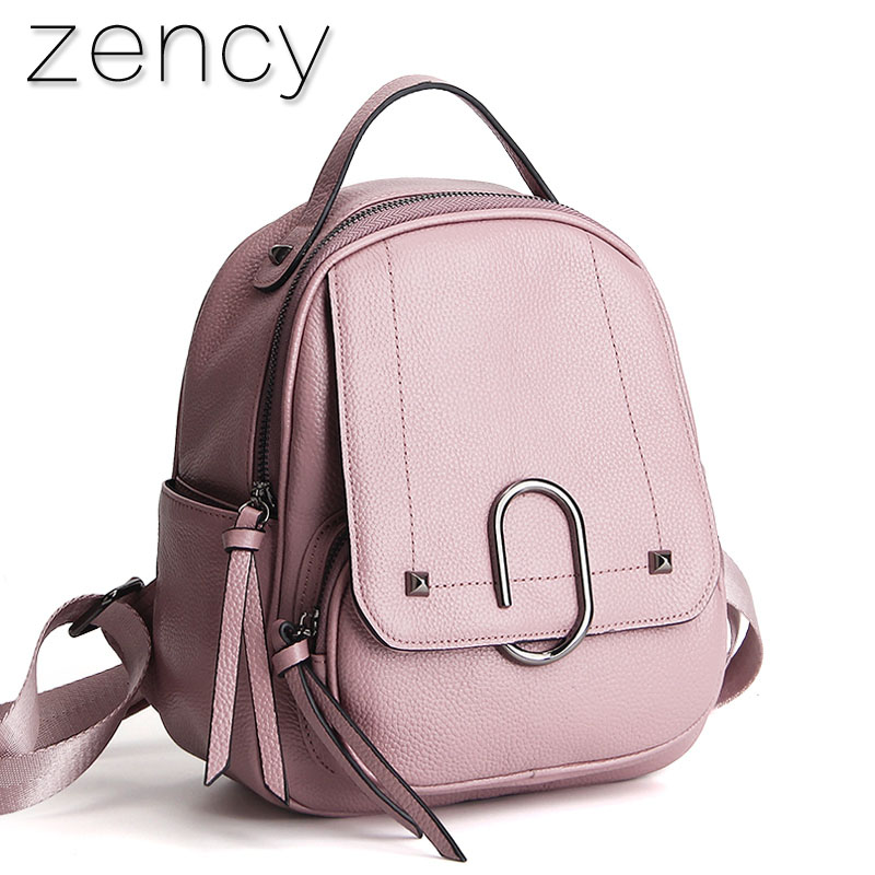 Zency Genuine First Layer Cow Leather Small Summer Women s Backpack Ladies Backpack Top Layer Cowhide