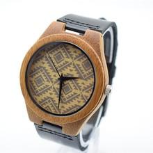 Alta Qualidade De Madeira De Bambu dos homens Ou das Mulheres Relógios Com Movimento Japão MiYOTA Quartz Moda relógio de Pulso Com Couro Genuíno