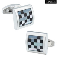 Trendy Square Rhodium Plated Hand Assembly Pearl French Shirts 2 Cuff Buttons Jewelry Cuff Links