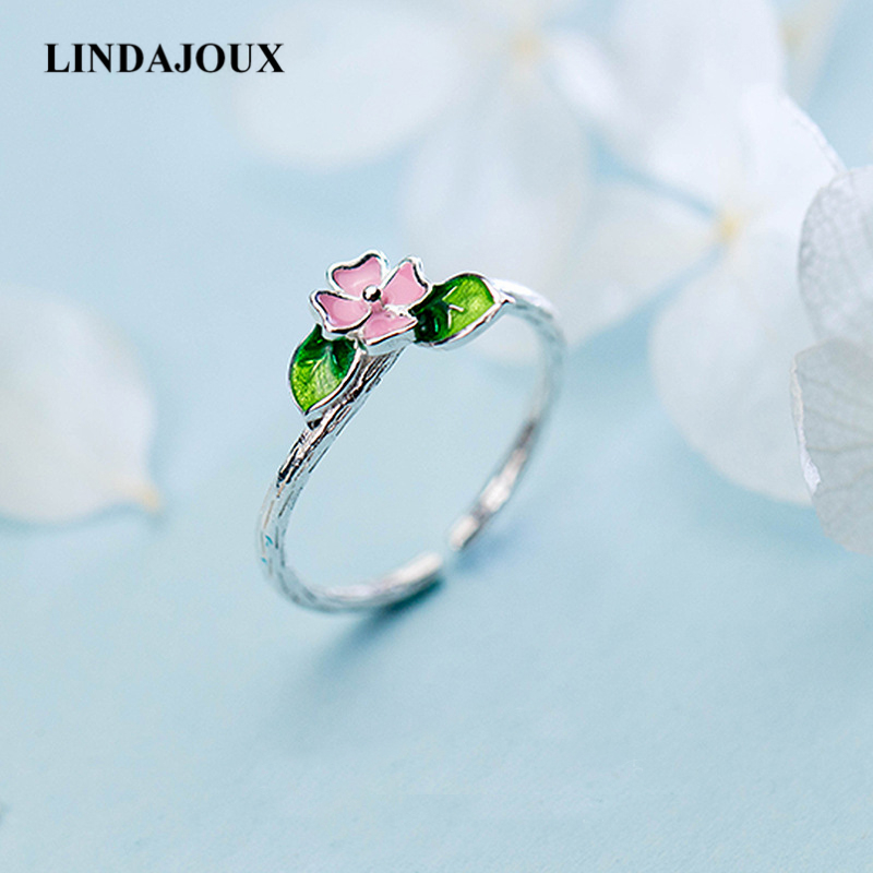 LINDAJOUX 925 Sterling Silver Pink Flower Green Leaf Open Ring For Women S925 Resizable Wedding Engagement Rings DropShipping