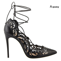 Aiyoway Women Ladies Pointed Toe High Heel Pumps Cutout Lace Up Autumn Spring Party Wedding Shoes Bridal Shoes Big Size White