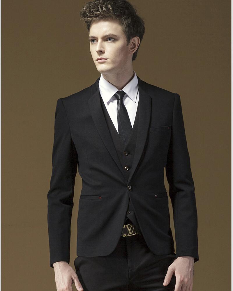 Jackets+Pants+Vest+Tie 4 Pieces Black Split Party Dress For Young Men Slim Fit Tuxedo Bridegroom ...