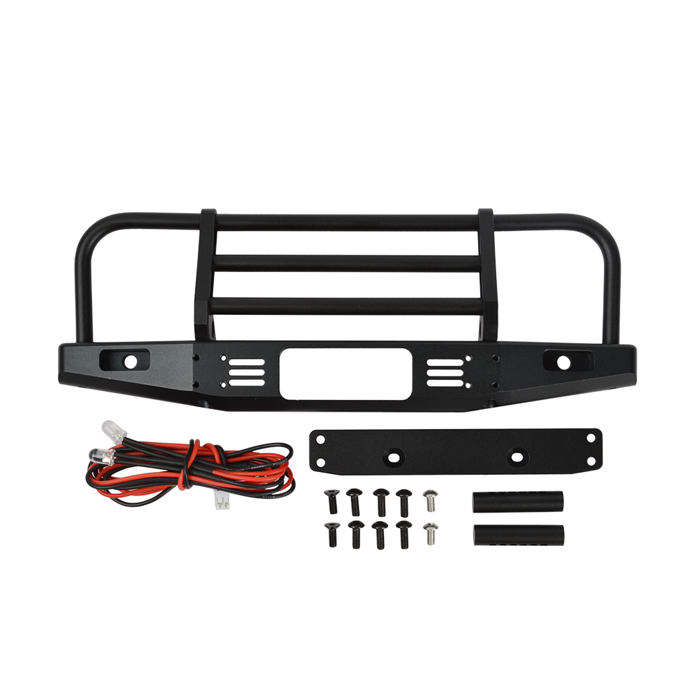 RCAIDONG Metal Front Bumper with Light for Axial SCX10 90046 90047 Traxxas TRX 4 TRX4 Defender Bronco 1/10 RC Rock Crawler-in Parts & Accessories from Toys & Hobbies
