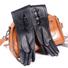 80cm Women's Ladies Genuine leather Unlined Double Sides Leather Overlength Three Buttons Wrist long gloves Party Evening gloves