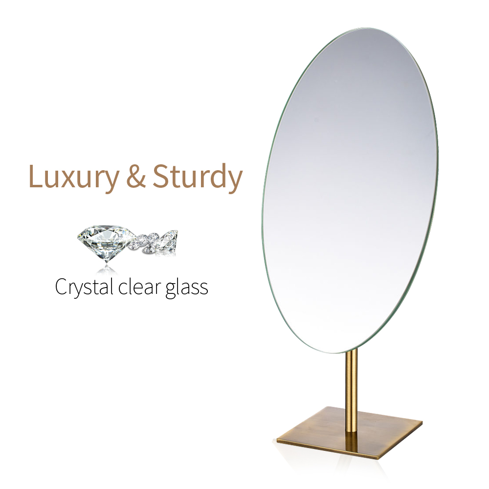 OVAL Desktop Makeup Mirror Antique Bronze Vanity Standing Frameless Single Sided Cosmetic Mirror on Dressing Table Decent Gifts wooden dressing table makeup desk with stool oval rotation mirror 5 drawers white bedroom furniture dropshipping