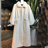 2018 шуба Для женщин пушистый Меховая куртка X длинные большой Размеры Повседневное Street пальто ветер проф толстые теплые зимние модные тренч