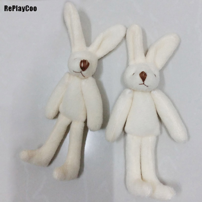 2Pcs/LotMini Rabbit Stuffed Plush Toys 11cm Long-legged Rabbit Stuffed Toys White Pelucia Pendant Kids Birthday Gift WZR006