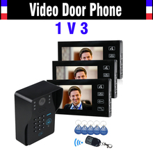 7″ LCD Touch Key Video Door Phone Intercom System with IR Camera & Code Keypad RFID Access Control Video Doobell kit