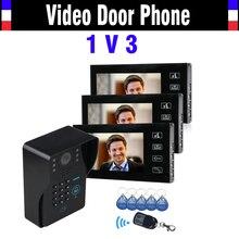7″ LCD Touch Key Video Door Phone Intercom System with IR Camera & Code Keypad RFID Access Control Video Doobell kit