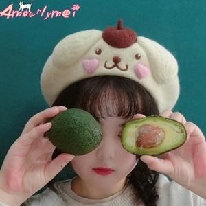 Autumn Winter Wool Beret Hat For Women Cap Japanese Style Mori Girl Lolita Cute Cartoon Dog Berets Hat Boina Feminino(China)