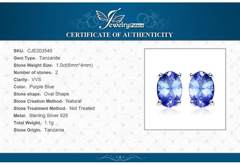 e53b2fbc84c45 Click here!! JewelryPalace 925 فضة 1ct الطبيعي تنزانيت أقراط بيان أزياء  أقراط للنساء غرامة مجوهرات