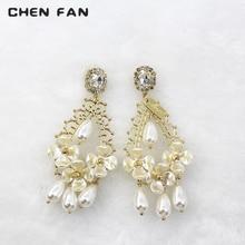 New Multicolor White flower Rhinestone earrings flower Pearl jewelry Fashion earrings for women 2019 drop earrings jewelry