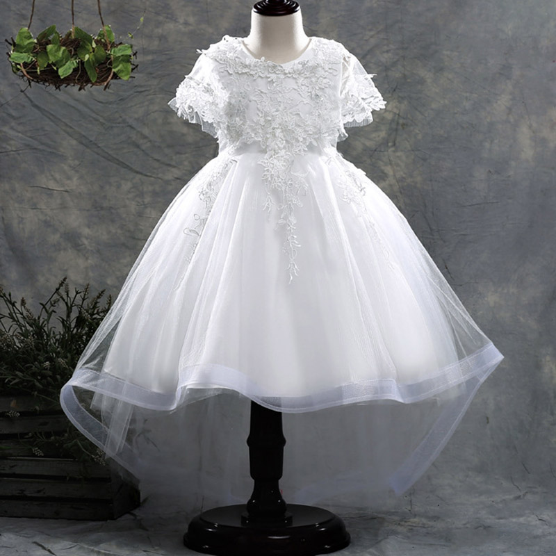 Shawl Handmade Beading Princess Dress First Communion Dress Girls Flower Weddings Dresses Kids Children Baby Fluffy Costume