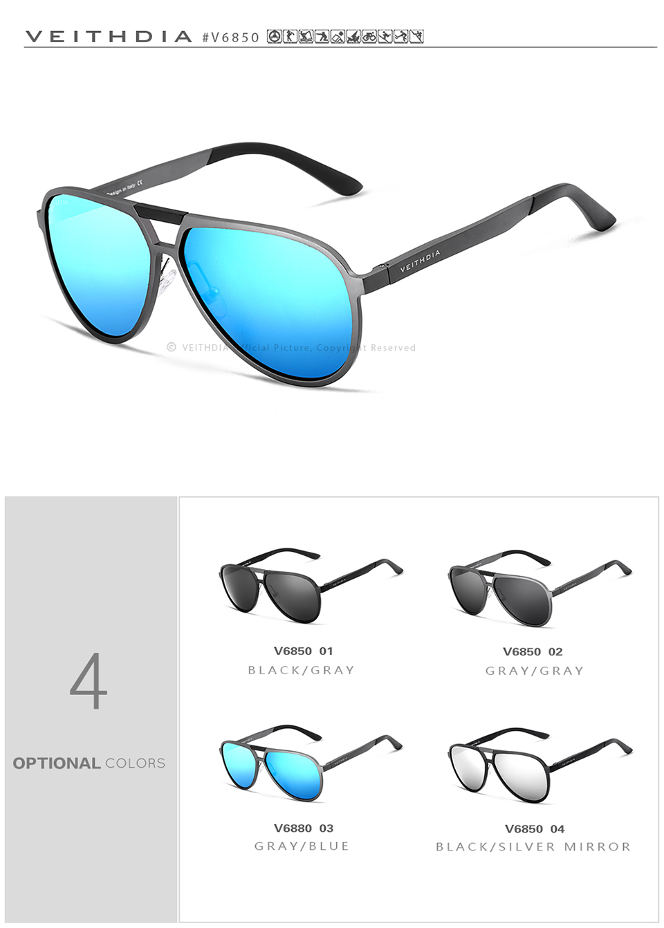 HTB167PEmQfb uJjSsrbq6z6bVXaF - VEITHDIA Brand Mens Aluminum Magnesium Sunglasses Polarized UV400 Lens Eyewear Accessories Male Sun Glasses For Men/Women V6850