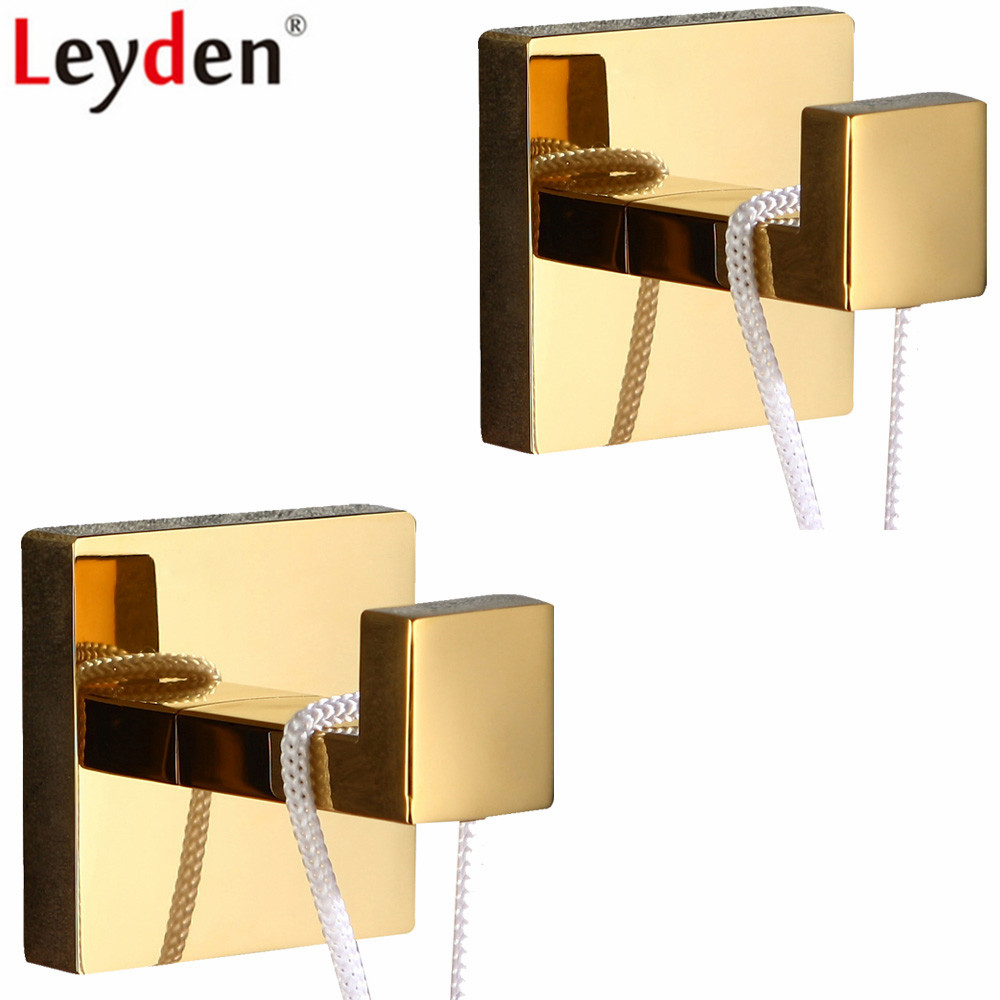 Leyden 304 Stainless Steel Golden Finish 2 Robe Hooks Set Wall Mounted Clothes Hat Towel Hooks 2pcs Bathroom AccessoriesLeyden 304 Stainless Steel Golden Finish 2 Robe Hooks Set Wall Mounted Clothes Hat Towel Hooks 2pcs Bathroom Accessories