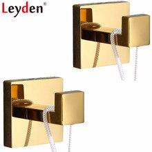 Leyden 304 нержавеющая сталь Золотой Отделка 2 Крючки для халатов набор настенная одежда шляпа крючки для полотенец 2 шт аксессуары для ванной комнаты