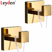 Leyden 304 Stainless Steel Golden Finish 2 Robe Hooks Set Wall Mounted Clothes Hat Towel Hooks 2pcs Bathroom Accessories