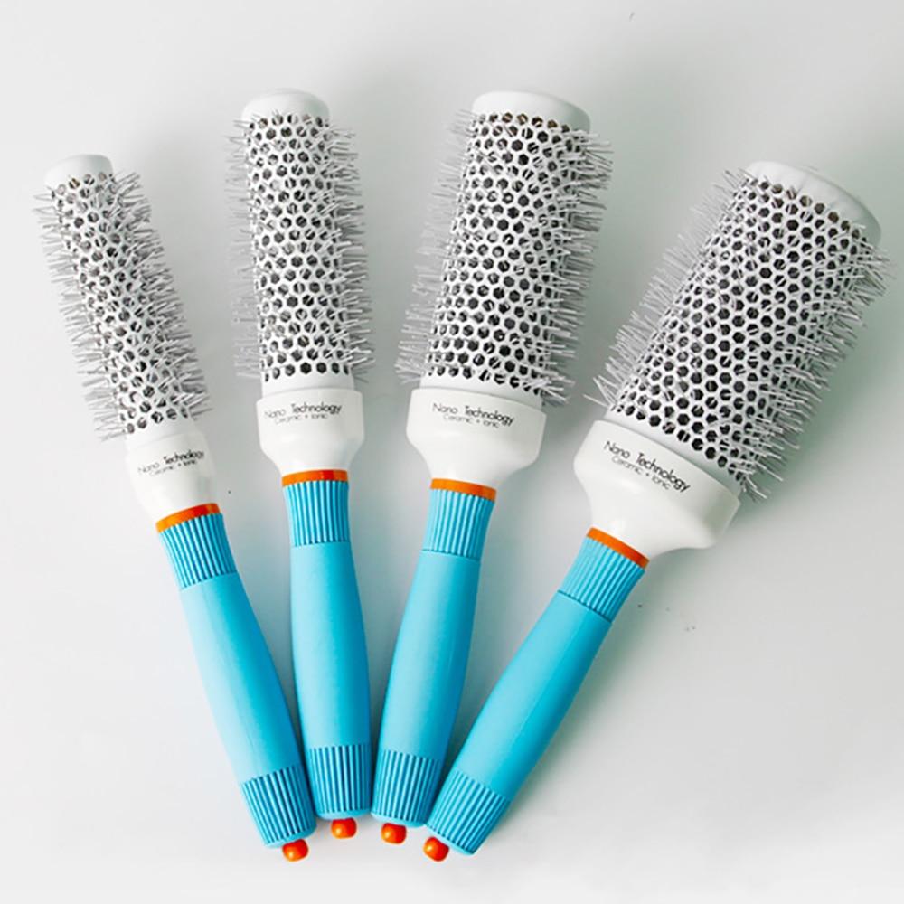 2021 Professional Round Blue Hair Brush Ceramic Ion Hairbrush Comb Fashion Salon Hair Styling Tools