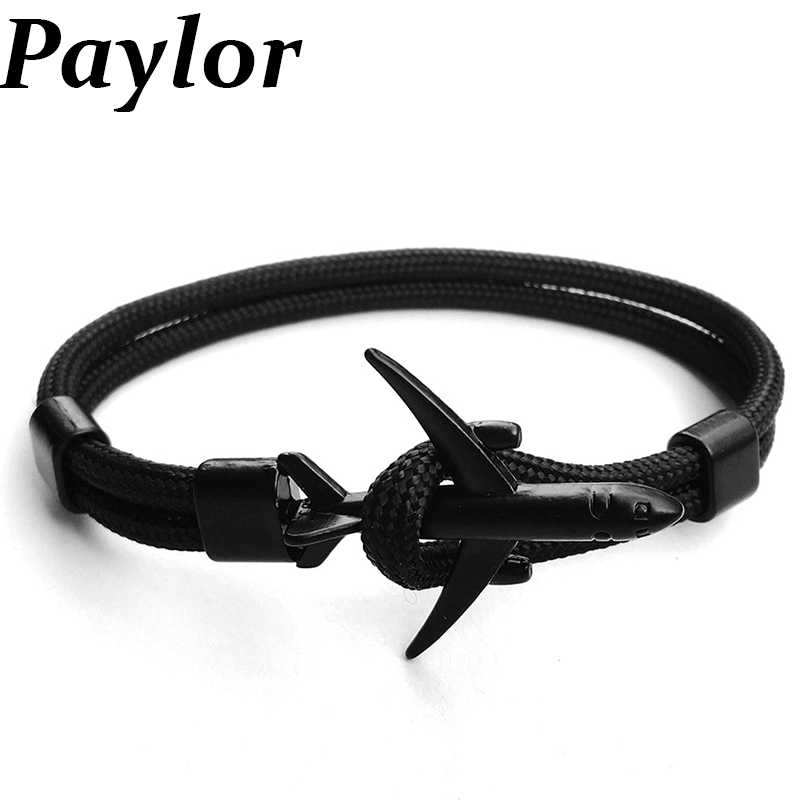 Paylor New Fashion Plane Anchor Bracelets Men Charm Chain 550 Paracord Bracelet Jewelry Male Wrap Metal Sport Anchor Hooks Hots