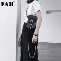 [EAM] 2019 New Spring Summer Pu Leather Buckle Split Joint Mini bag Personality Long Belt Women Fashion Tide All match JW494