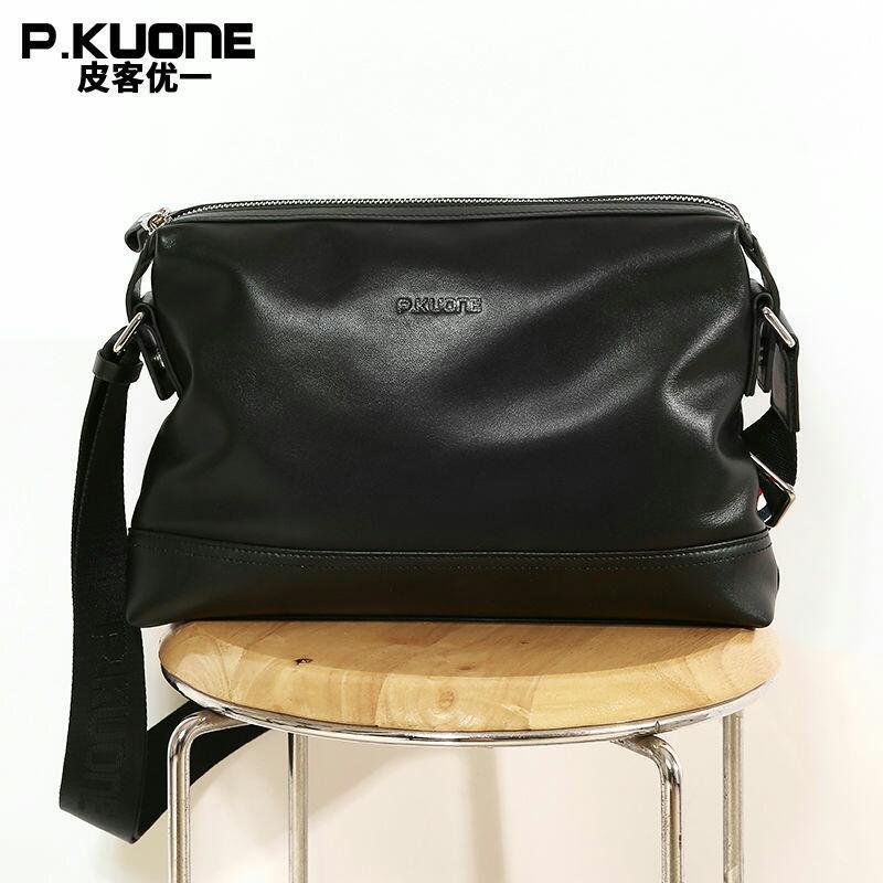 High Quality Elegant Men's Gentleman Taste Genuine Leather Briefcases Men Messenger Business Shoulder Bags Black P610941