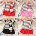 2017 Spring and Autumn girls cotton striped long-sleeved dress princess dress children baby dress