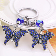Fashion Accessories Rhinestone Butterfly Keychain Car Pendant Key Chain women bag Key Ring llavero Delicate Hot Selling
