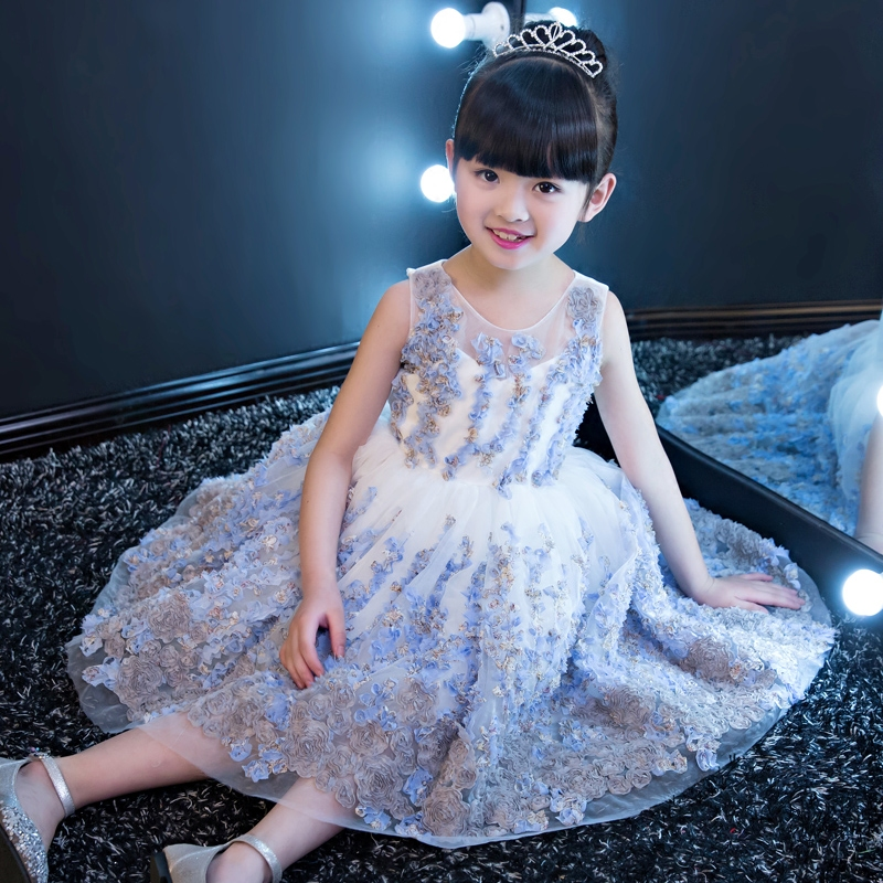 2017New Luxury Girls Baby Pageant Dresses Children Princess Flowers Dresses Kids Formal Wedding Birthday Party Christening Gown top quality new girls pageant dresses for baby children princess flower girl dresses kids formal wedding party christening gown