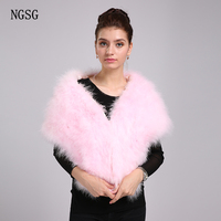 NGSG Luxury Women Thick Pashmina Warm Spring Winter Real Ostrich Fur Big Pashmina Soft Scarves for Russian Pink White W003