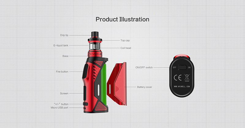 , UWELL Hypercar Kit & 4Pcs/Pack Whirl Tank Coil Set 5-80W  18650 Battery Or USB Charging  2018 New Arrival  E-cigarette Vape Kit