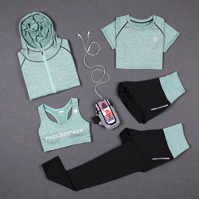Quick Dry sportswear Gym Leggings Female T-shirt Costume Fitness Tights Sport Suit Green Top Yoga Set Women's Tracksuit crazyfit mesh hollow out sport tank top women 2018 shirt quick dry fitness yoga workout running gym yoga top clothing sportswear