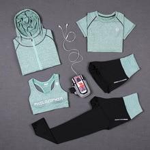 Women's Tracksuit Leggings Green-Top T-Shirt Costume Sportswear Tights Gym Fitness Yoga-Set