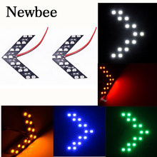 Newbee 2 Pcs/lot 14 SMD LED Arrow Panel For Car Rear View Mirror Indicator Turn Signal Light LED Rearview mirror light 5 Color(China)