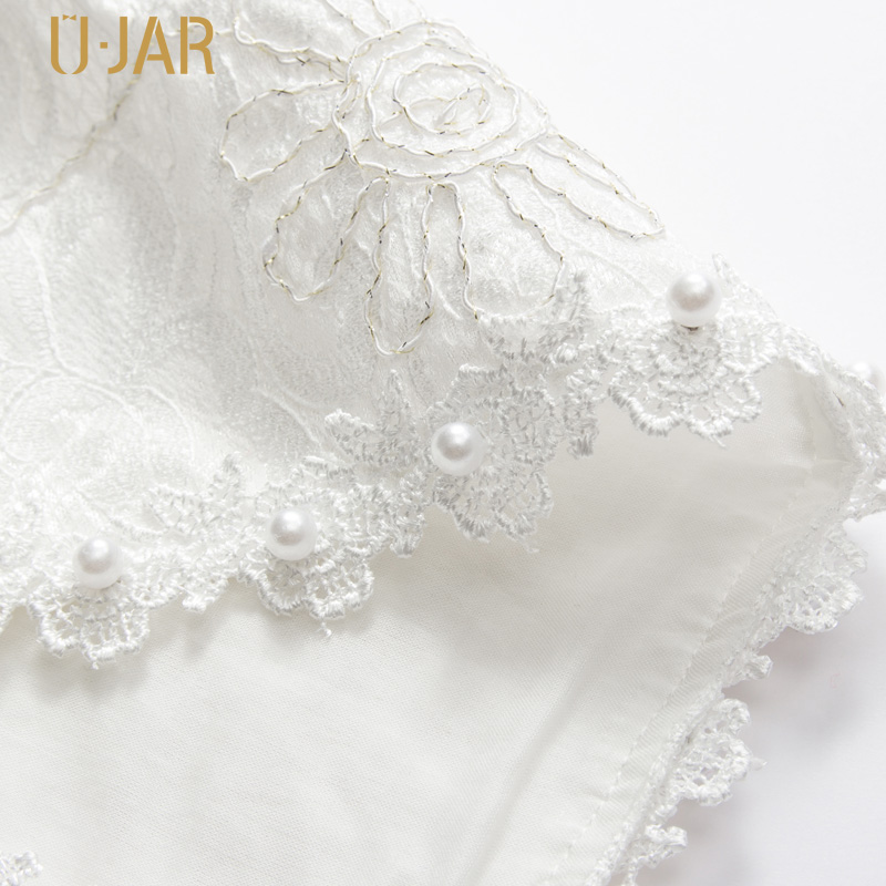 UJAR Weiß Farbe Mädchen Mantel Kurze Muster Perle Spitze Schal Für 4 ...