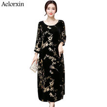 2017 Autumn Winter Woman s Vintage Printed Long Christmas Dress Three  Quarters Sleeves Black Gold Velvet Loose Dress Vestidos 73708b4acee2