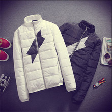2015 Men s Winter Coat Solid Color Slim Padded Couple Young Couple Hooded Winter Coat Jacket