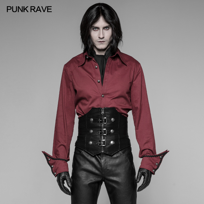 PUNK RAVE Men's Steampunk Rock Pu Leather Black Corset Gothic Palace Party Waistband Novelty Men's Cosplay Clothes Accessories