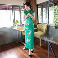 Новинка женские Модные долго Cheongsam китайский женский тонкий искусственный шелк Qipao платье vestidos плюс Размеры размеры S M L XL XXL, XXXL 4XL 5XL 1978
